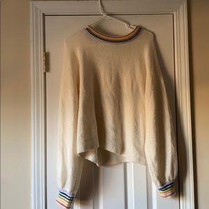 Madewell cream rainbow cuffed sweater